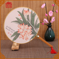 Custom your own wedding invitation hand fans gift personalized silk round hand fans TS-02