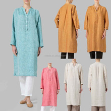 wholesale bulk blouses pakistani linen clothes custom women shirts dress spring plain cotton kaftan 100% pure linen clothing