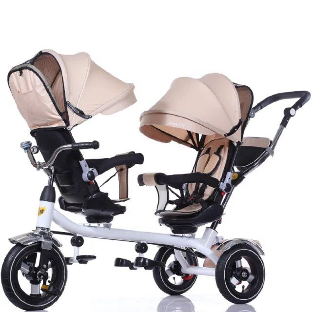 China Factory Wholesale 3 Wheel UV Protection Twins Stroller Baby Stroller Air Tire Pram Folding Baby Tricycle With Push Handle