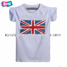 China import silk screen flag printing white t shirts for man wholesale