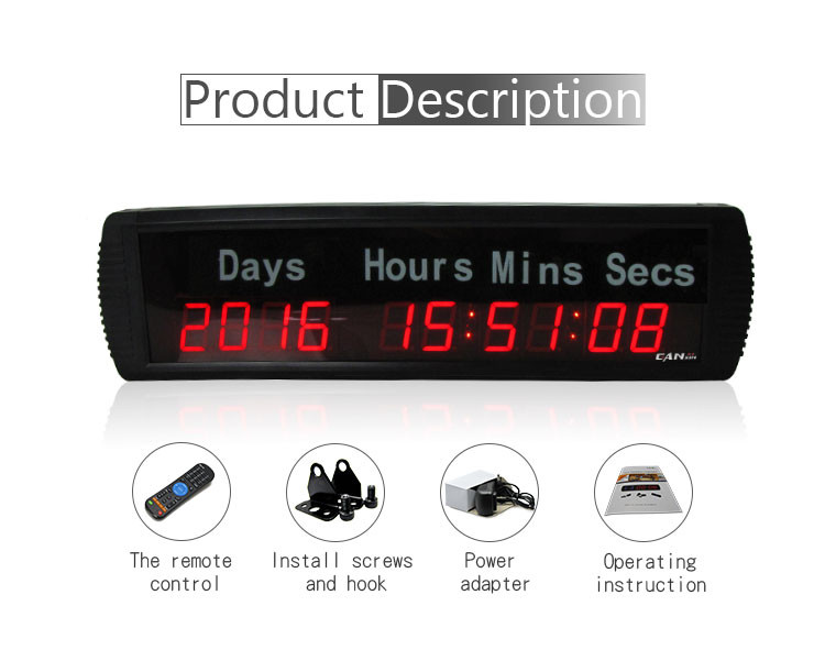 [Ganxin]1.8'' 10 Digits Remote Control Functional Days Digital Timing Clock 9999 Days Countdown Event Timer