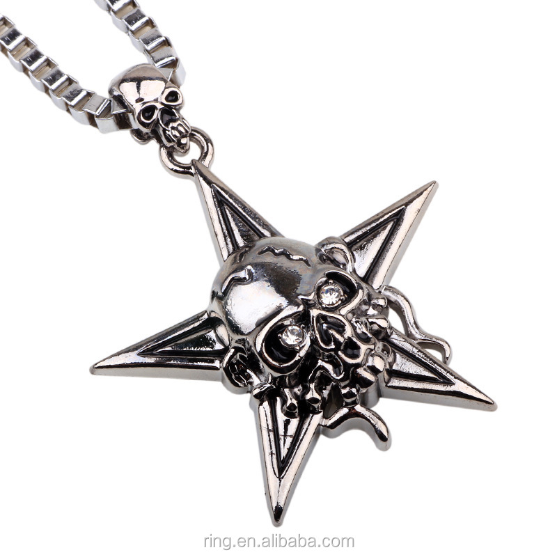 Alibaba Wholesale Hip Hop Necklace Five Star Skull Mens Necklace Box Chain Jewelry Wholesale