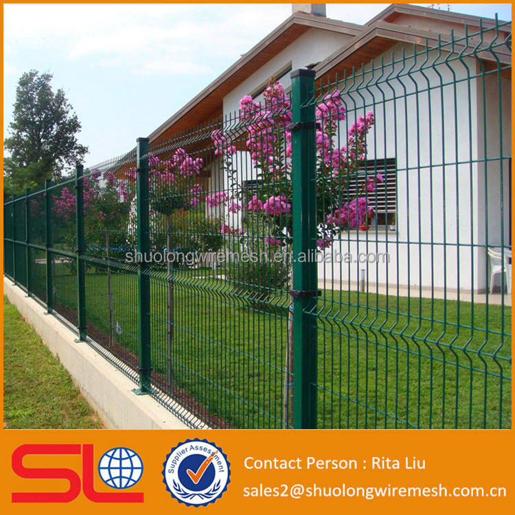 Trade Assurance PVC Coated V Pressed Welded Wire Mesh Fence , Panel in 6 Gauge