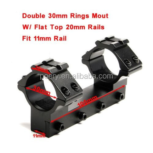 One Piece Dual 30mm Ring 11mm Dovetail Rail Mount W/ 20mm Weaver Rail For Rifle LD202-1