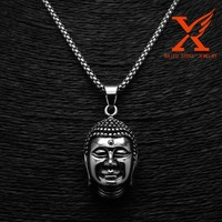 wholesale Men jewelry Titanium Steel Silver Black Restoring Ancient Thailand Buddha Pendant