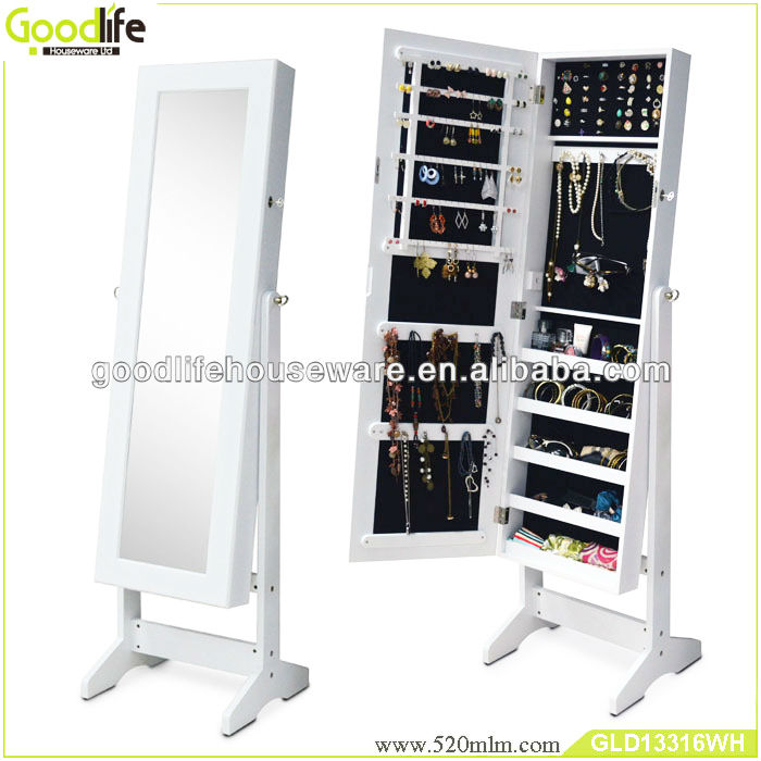 China supplier bedroom furniture floor standing mirrored jewelry cabinet from goodlife