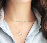 Delicate gold jewelry plane coral necklace, thin chain airplane pendant necklace for women