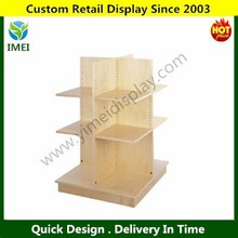 POP customer design tall wood display cabinet/wood bread display rack/wood food display rack