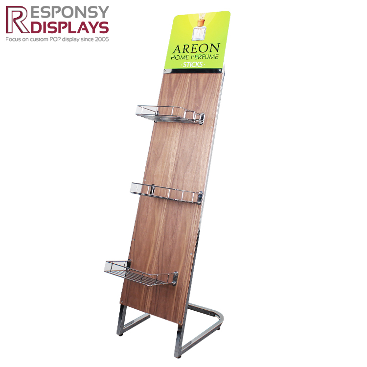 Customized Indoor Metal and Wood Stand Home Perfume Display Rack for Promotion
