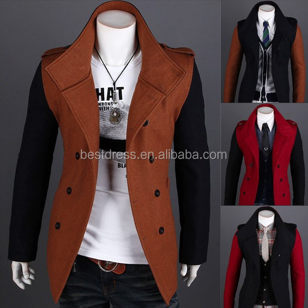 China supperlier 2015 New fashion woolen men's coat winter long double breasted men coat