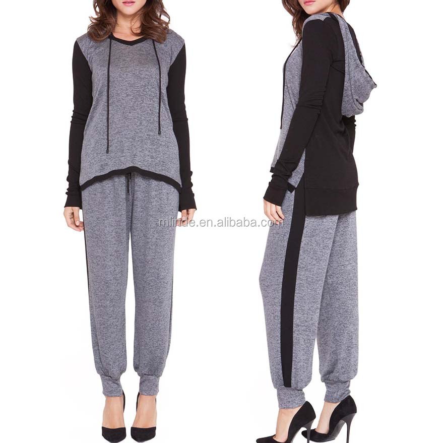 Women Hooded Flowy Sweatshirt And Drawstring Lounge Track Pants Wholesale 100% Cotton Sweat Suits