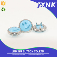 JXNK factory supply colored printing pearl decorative metal fabric fasteners enamel prong snap button for clothing