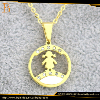 New Fashion Round Shape Lovely Girl Design Stainless Steel Gold Plated Necklace Jewelry For Party