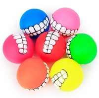 Hot Selling Funny Interactive Diameter 7.5cm Pet Dog Ball Teeth Silicone ball Squeaky Sound Dog Chew Toy Balls