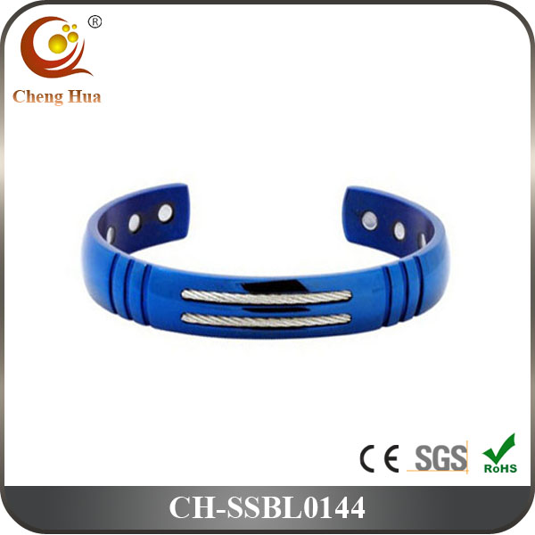 High Quality Blue Plated Magnetic Stainless Steel Cuff Bangles