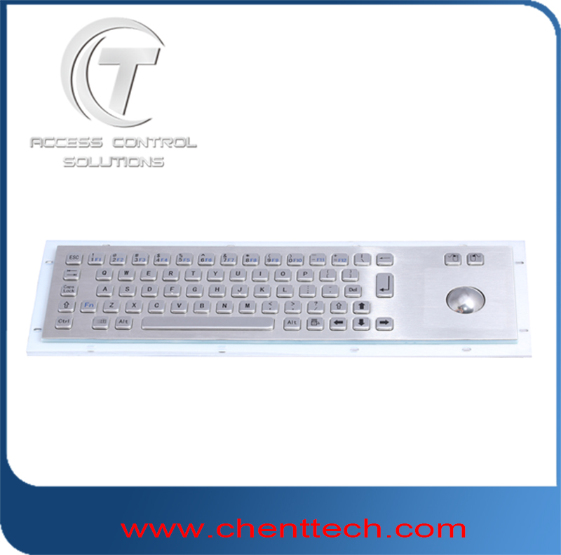 Kiosk IP65 IK07 multimedia industrial metal keyboard with trackball and numeric pad