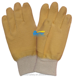 Knit Wrist Cotton Lined Yellow Latex Rubber Glove china supplier