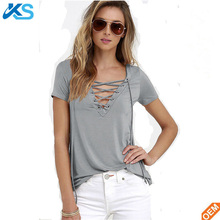 Fashion Women's Summer Cotton Blend eyelet v-neck Party comfortable sexy ladies plain cotton Tee t shirts