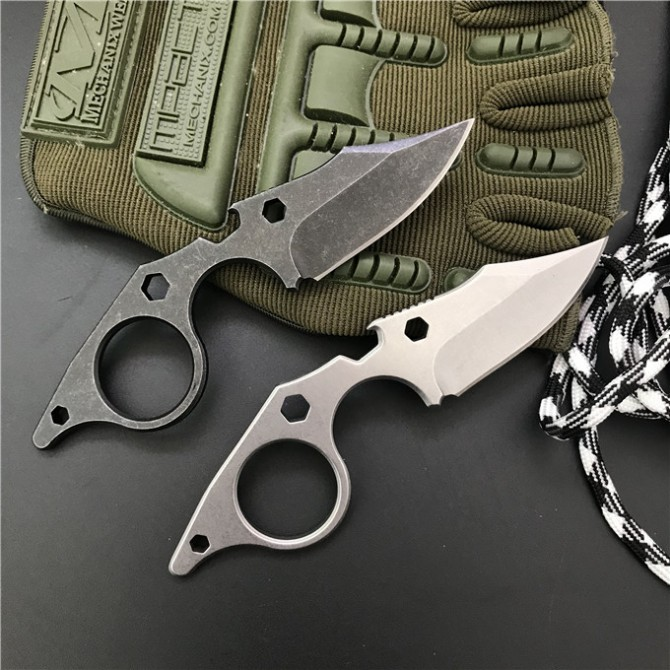 440C Steel Handle Small Hand Knife Multifunction Knives with K Sheath Stone wash Surface EDC Tools Dropshipping 2298