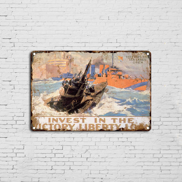 They Keep The Sea Lanes Open Metal Novelty Board Sign embossed metal sign