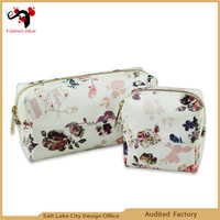 2015 full color print leahter makeup leather wash leather cosmetic bag