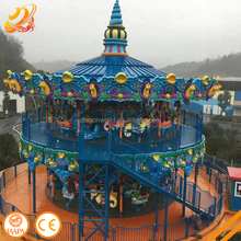 68P double decker amusement park equipment outdoor luxury carousel ride carrousel box beautiful carousel ride for sale