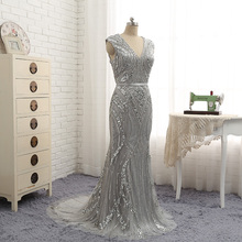 V Neck Silver Sequins Beaded Sheath 2018 New Ladies' Prom Dress Plus Size Lace Women's Special Occasion Dress