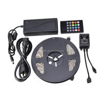 5M 5050 Waterproof RGB Flexible Color Changing LED Strip Kit with 20-key Music Sound Sense IR Controller + 12V 5A Power Supply