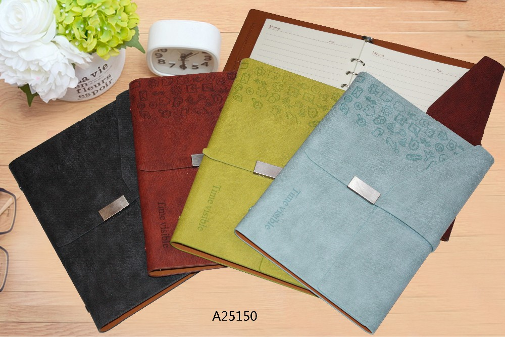 PU leather soft cover loose leaf notebook with magnetic buckle