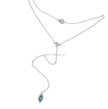New model eye necklace with cz bezel layer necklace with silver gold plated wedding layer necklace for women designs