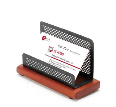 black office wood base name card holder