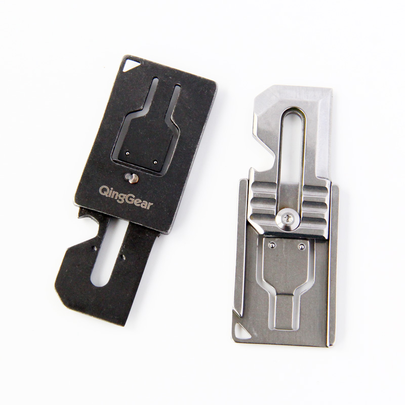 QingGear Multifunctional Sliding Tool and Knife for Every Day Carry With Bottle Opener Scraper Flathead Pry Edge Lanyard Hole