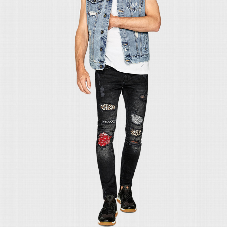 Latest Trousers Design Men Black Skinny Denim Jeans With Patch
