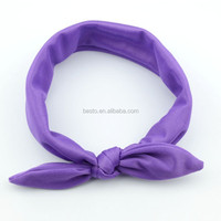 Infant baby cotton plain knot headband Baby purple Hairband Colorful Children headband