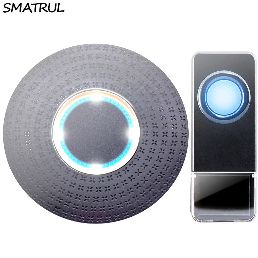 SMATRUL New Waterproof Wireless Doorbell EU Plug 300M Remote smart Door Bell Chime ring 1 2 button 1 2 3 receiver no battery Deaf Gorgeous lighting black
