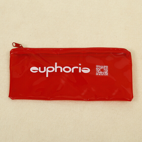 bright red rectangle pc bag pencil case zippers pouch