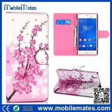 Mobile Phone Accessory for Sony Xperia Z3 Flip Wallet Case, Flowers Phone Case for Sony Z3