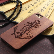 Wholesale high quality laser engraving custom design Plastic wooden cell phone case for iphone 6 case wood
