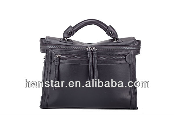 2013 New Style Leather Boston Bag Shoulder Bag (Black)