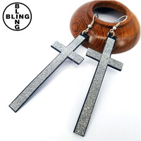 China cheap High quality European silver gold plated antique retro earrings classic cross long drop earrings for women