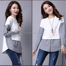 AL2949W New arrival lady fashion blouses 2017 long sleeve striped patchwork tops casual lady blouse