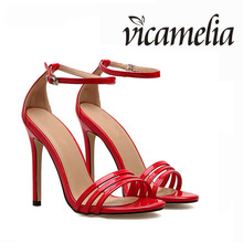 Women Sexy High Sandals Classic Buckle Thin High Heel Sandals Open Toe Patent Leather Fashion Shoes For Lady