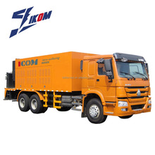 Road construction and conservation machine slurry paver/micro-surfacing truck
