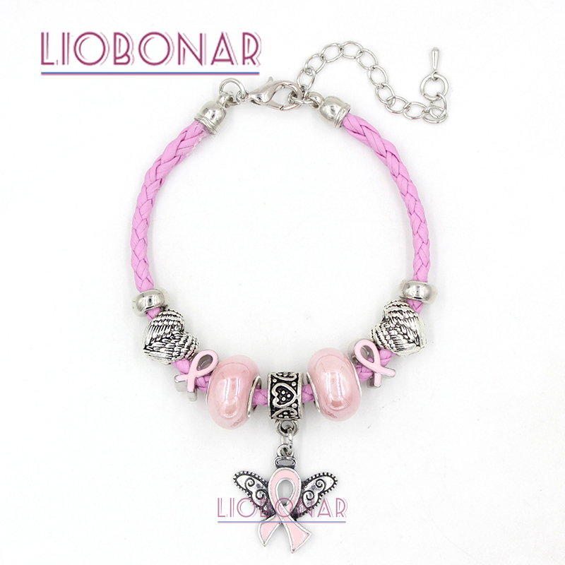 2017 New Arrival Pink Leather Breast Cancer Awareness Bracelet Pink Ribbon Angel Wings Jewelry for Breast Cancer Compaign Gift