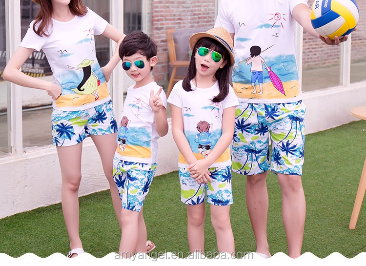 Family Beach Style Clothing Set Couple T-shirt Design China lovely family matching clothing plain t shirt
