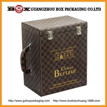 Special luxury good wooden wine box with leather handle