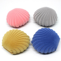 wholesale shell shaped small velvet ring earring jewelry box