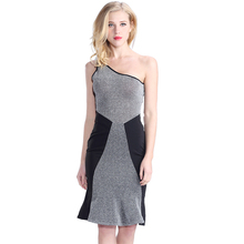 Latest One Shoulder Fashion Casual Sexy Free Prom Dress Front Grey Sexy Prom Tube Dress Black Back Sexy Prom Dresses