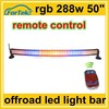 12v/24v 288w 50inch rgb multi color offroad led light bar curved with wireless remote control