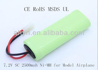 7.2V SC 2500mah Ni-MH rechargeable battery for airplane